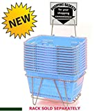 Prestige Line Light Blue Jumbo Hand Held Shopping Basket Set of 12