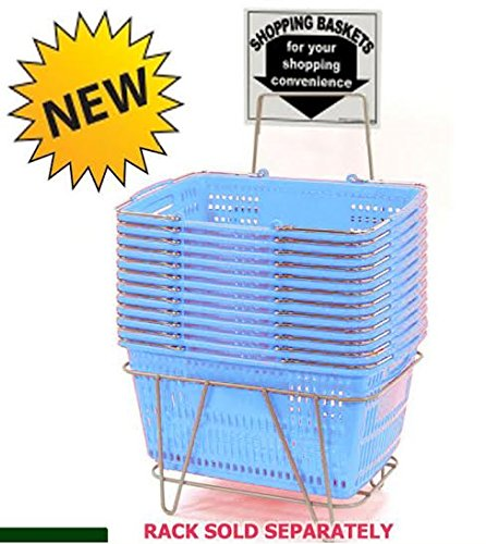 Prestige Line Light Blue Jumbo Hand Held Shopping Basket Set of 12 by shopping basket