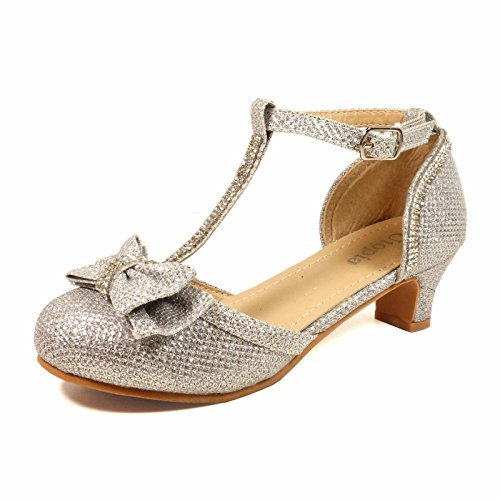 Nova Utopia Girls Low Medium Heel Dress Sandal Flower Girl Shoes,NF Utopia Girl NFGFH58H Silver ()