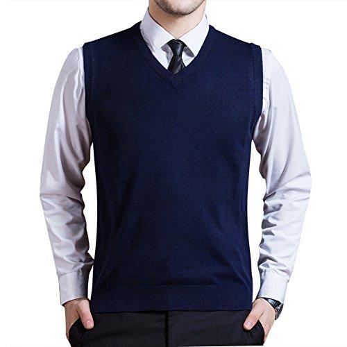 Zicac Men's Argyle Sweater Vest V-Neck Sleeveless Waistcoat Business Knitwear Blue