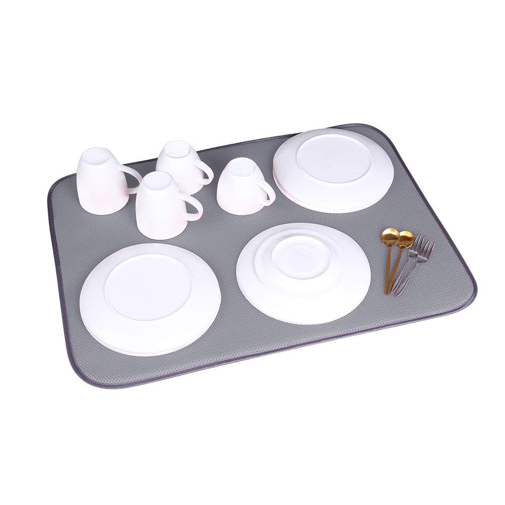 Jovilife 食器乾燥マット キッチンマット(3枚セット) マイクロファイバー吸収性 洗濯可能 1824インチ レッド 18*24 inch グレー  グレー B07MCBSNG1