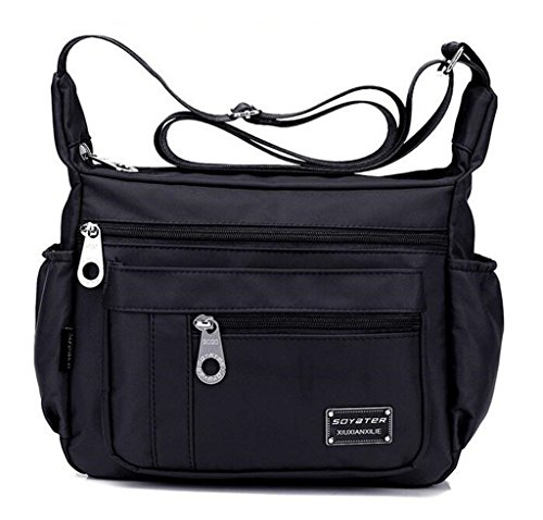 Nylon Bag Women`s Purse Water Medium Crossbody Lightweight Resistant Shoulder Black Kecartu Size ZU0IpgZ