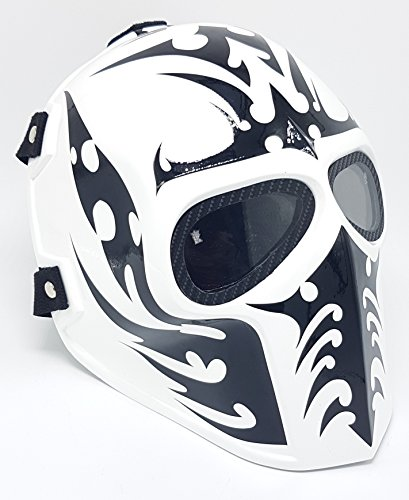 Airsoft Full Face Mask Army of two Cosplay Halloween mask Paintball Ghost Masks (White & Black)]()