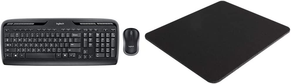 Logitech MK320 Wireless Desktop Keyboard and Mouse Combo, 2.4GHz Encrypted Wireless Connection & Belkin Standard 8-Inch by 9-Inch Computer Mouse Pad with Neoprene Backing and Jersey Surface (Black)