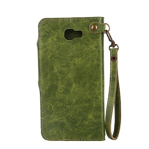 Samsung J7 Prime Funda, Alfort 3 en 1 Carcasa Samsung Galaxy J7 Prime Cascara de Color Sólido Cover la Cubierta del Cuero Moda Case Rosas Vintage con Soporte Plegable y Ranura de Tarjeta ( Azul ) Verde
