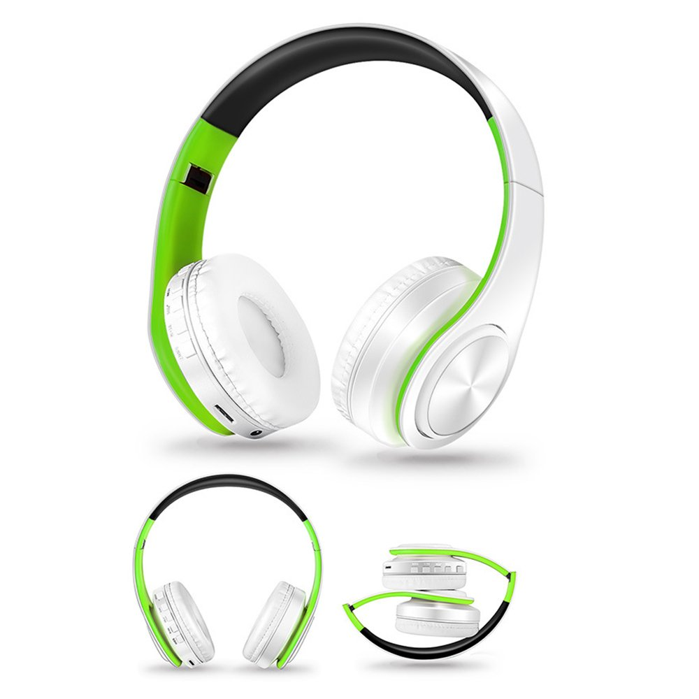 HIOTECH Bluetooth Over Ear Headphones Wireless Headsets Support TF Card Adjustable Earphone Active Noise Cancelling for iPhone Anoride Devices (Green+White)
