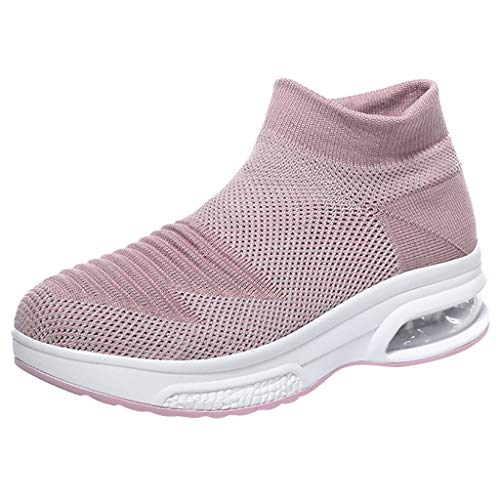 Bralonees Women Shoes Fly Woven Breathable Slip-On Socks Air Cushion Lightweight Sneakers Running Fitness Non-Slip Sport Pink ()