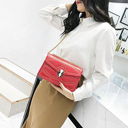 Chain Red Diagonal Bag Portable Shoulder Bag Women's Women's Shoulder Bag Bag Rivet Fashion Handbag Korean FZqFAwPU0