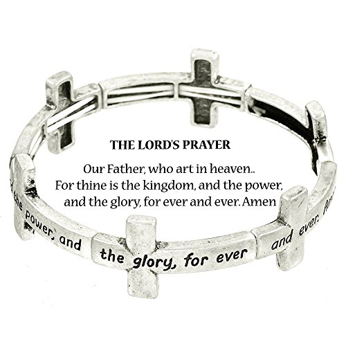 Beautiful Silvertone The Lord's Prayer Stretch Bangle Charm Bracelet with Bookmark (with Gift Box) -