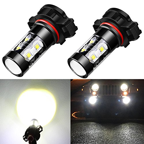 2500 Replacement Fog Light (Alla Lighting Extremely Super Bright High Power 50W CREE 5202 H16 Type 1 White LED Lights Bulbs for Fog Light Lamps Replacement)