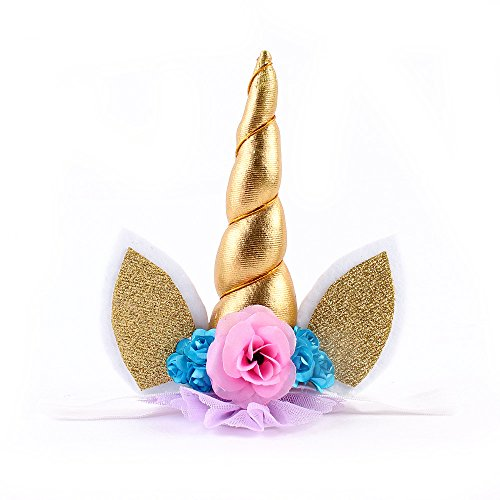 Unicorn Headband Glitter Ears & Flowers for Kids Toddler Girl Party Photo Props Gold
