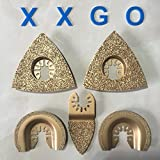 XXGO 5 Pcs Mixed Semicircle Triangular Finger Carbide Rasp Grit Grout Grinding Quick Release Oscillating Multi Tool Saw Blade Carbide Fits Oscillating Multi Tools