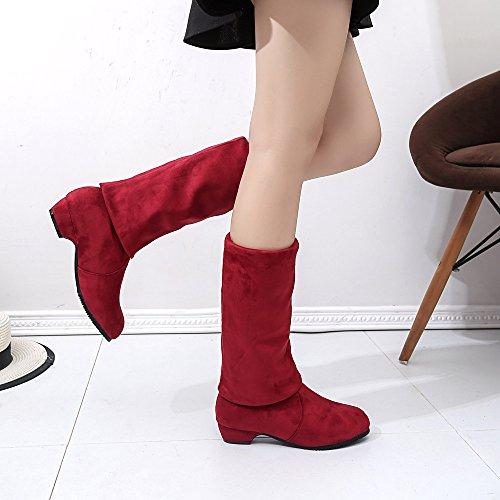 Jambe Chaussures Femme Hiver Daim Plates Courtes Bottes Femme Madam Automne pour Femmes Haute Bottines Yesmile Longues Boots Bottes twqdzw0