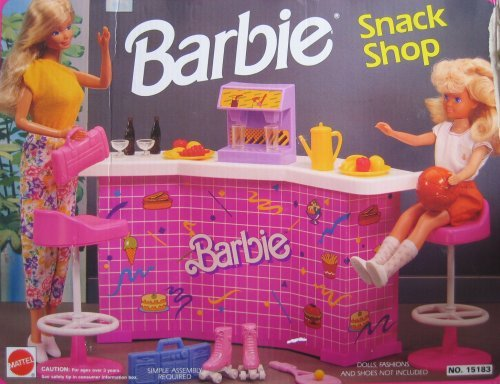 Barbie SNACK SHOP Playset w Counter, Soda Machine & MORE! (1992 Arcotoys, Mattel) (Soda Shop Barbie)