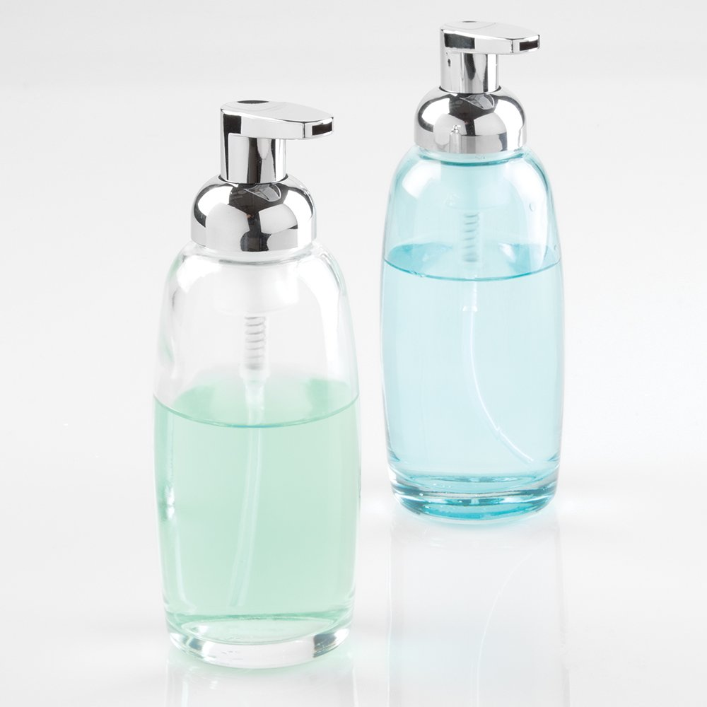 mDesign Glass Foaming Soap Dispenser Pump 2pc Bathroom Accessory Set  Aqua Chrome Clear Shop Amazon com Sets