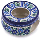 Polish Pottery Heater with Candle Holder 6-inch Morning Glory Wreath UNIKAT