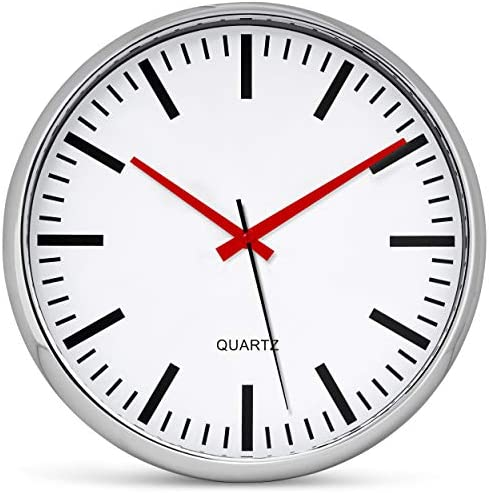Bernhard Products Metallic Wall Clock 13 Inch Analog Silent Quartz Battery Operated Non-Ticking Quartz Battery Operated Round Decorative Modern Design