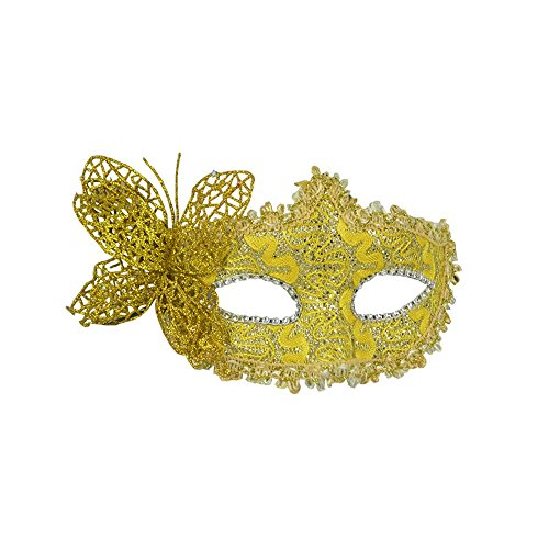Mardi Gras Party Masquerade Mask,Halloween Venice mask Make-up Dance Party mask cos Beauty Princess Half face Feather mask Butterfly Yellow Prom Masks
