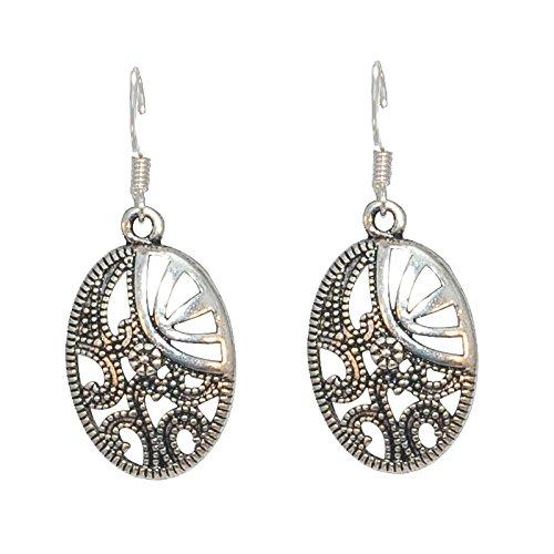 Créative Perles - Boucles D'Oreilles Ovales Médiévales - Argenté