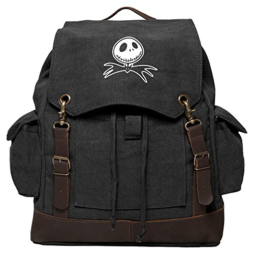 Jack Nightmare Before Christmas Bat Rucksack Backpack with Leather Straps, Black]()