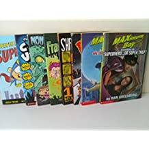 Book Set for Boys: Melvin Beederman Superhero #1; Maximum Boy, How I Became a Super Hero; Superhero or Thief; Rex Tabby; Shredderman, Secret Identity; Rex Tabby; Monster Squad, Return of Mega Mantis