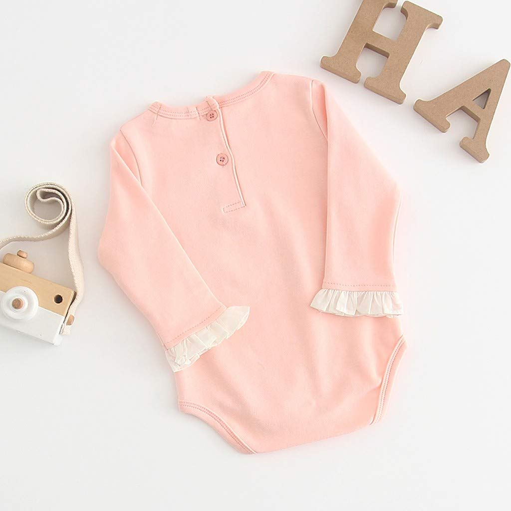 KaiCran Newborn Baby Girls Ruched Long Sleeve Letter Print Pink Romper Bodysuit Size 0-24 Months Infants