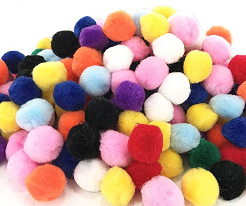Pom Poms Fuzzy Ball 1 Inch Round Craft Supplies Rainbow Assorted Colors for Arts and Crafts DIY Creative Decorations Pompoms for Craft and Hobby Supplies 300 Pieces