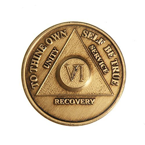 6 Year Bronze AA (Alcoholics Anonymous) - Sober / Sobriety / Birthday / Anniversary / Recovery / Medallion / Coin / Chip by Generic (Mia Medallion)