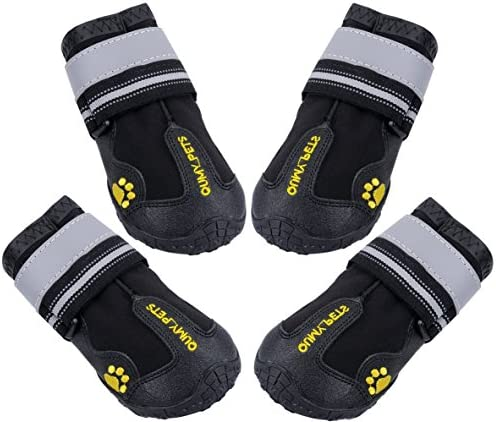 QUMY Dog Boots Waterproof Shoes for Dogs with Reflective Strips Rugged Anti-Slip Sole Black 4PCS