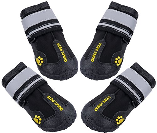 QUMY 4 Piece Dog Boots Waterproof Shoes for Large Dogs with Reflective Velcro Rugged Anti-Slip Sole, Black, -