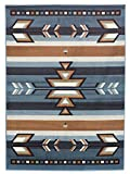 Cheap Rugs 4 Less Collection Southwest Native American Indian Area Rug Design in Light Blue SW1 (5'x7′)