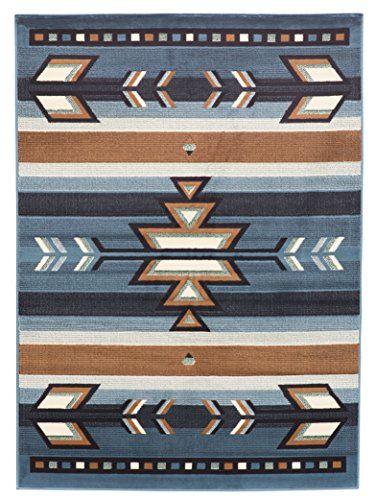 Southwest Indian Rugs - Rugs 4 Less Collection Southwest Native American Indian Area Rug Design in Light Blue SW1 (5'x7')