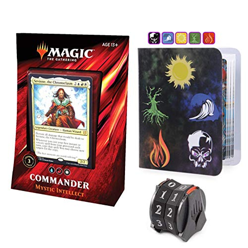 Totem World Commander 2019 Mystic Intellect Deck with Life Counter Spindown and Mini Binder - MTG Holiday Bundle Box Gift Set