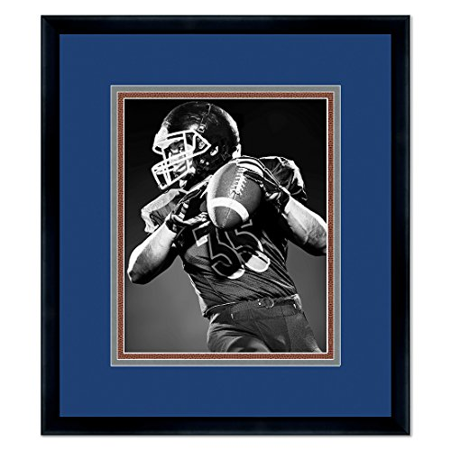 Dallas Cowboys Black Wood Frame for a 8x10 Photo with a Triple Mat - Navy Blue, Metallic Silver, Football Textured Mats Dallas Cowboys Picture Frame