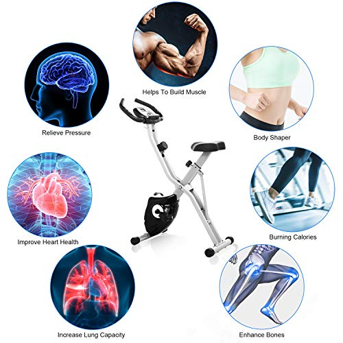 ANCHEER Folding Magnetic Exercise Bike, 10-Level Adjustable Stationary Bike - Tablet Stand & Large and Comfortable Seat by ANCHEER (Image #4)