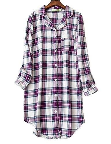 CHUNG Womens Boyfriend Plaid Button Down Nightshirt Lounge Sleepwear Dress -