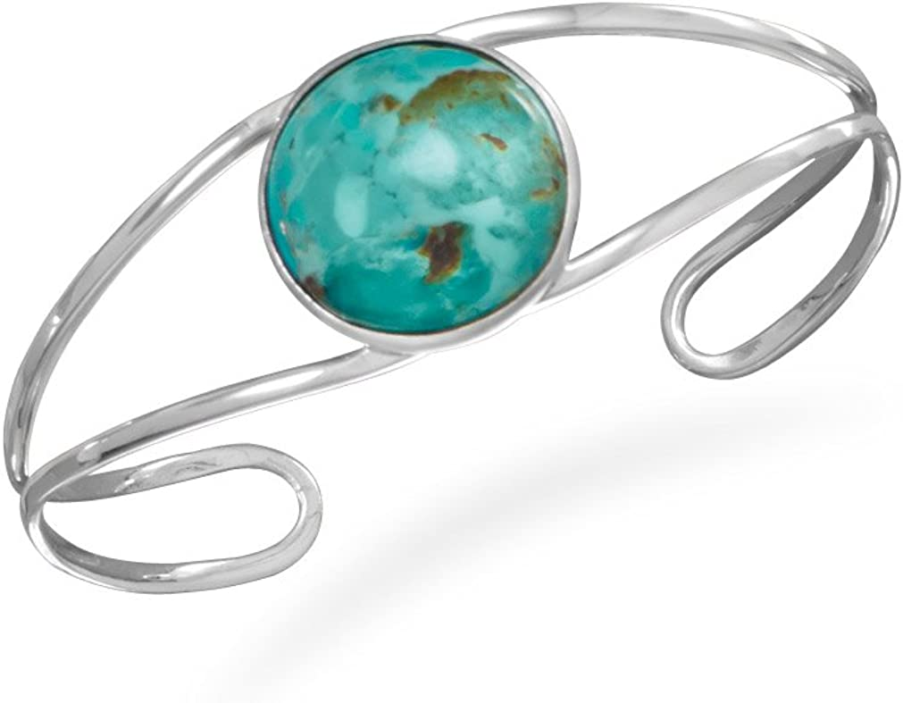 Turquoise /& Lavender Cuff Ring for Women Beautiful Sterling Silver Contemporary and Delicate Open Ring with Round Turquoise Inlay