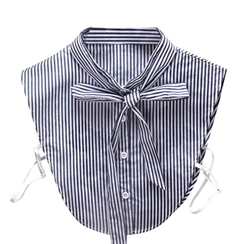 Vovotrade False Collars For Women Adorable Striped Necklace Detachable Lapel Shirt Cute Lace Fake False Collar (Blue) (Cuff Fur Shirt)