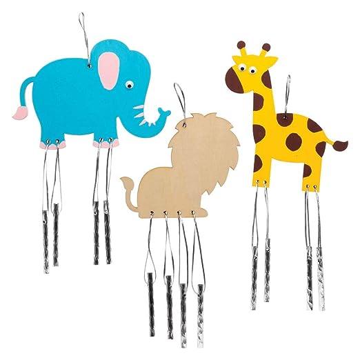 Baker Ross- Carillones de Viento de Madera de Animales de la Selva (Pack de 4) - Actividad de Manualidades Infantiles para Decorar y exhibir: Amazon.es: Industria, empresas y ciencia