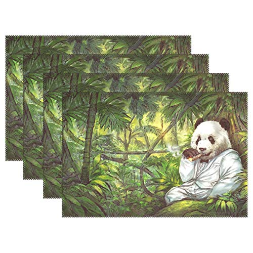 (YPink Panda Jungle Art Cigar Tuxedo 2536653 Placemats Set of 4 Heat Insulation Stain Resistant for Dining Table Durable Non-Slip Kitchen Table Place Mats)
