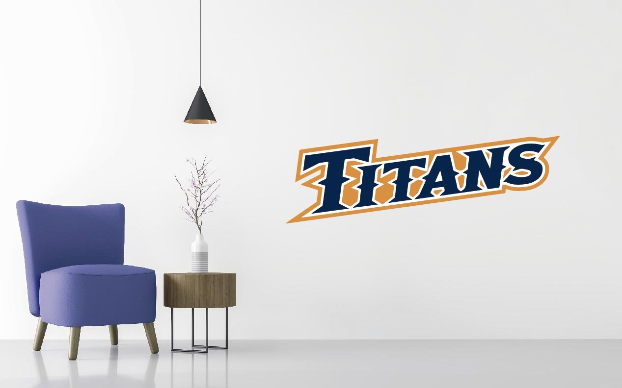 Cal State Fullerton Titans Men's - Basketball Team Logo - Wall Decal Removable & Reusable For Home Bedroom (Wide 50'' x 16'' Height)