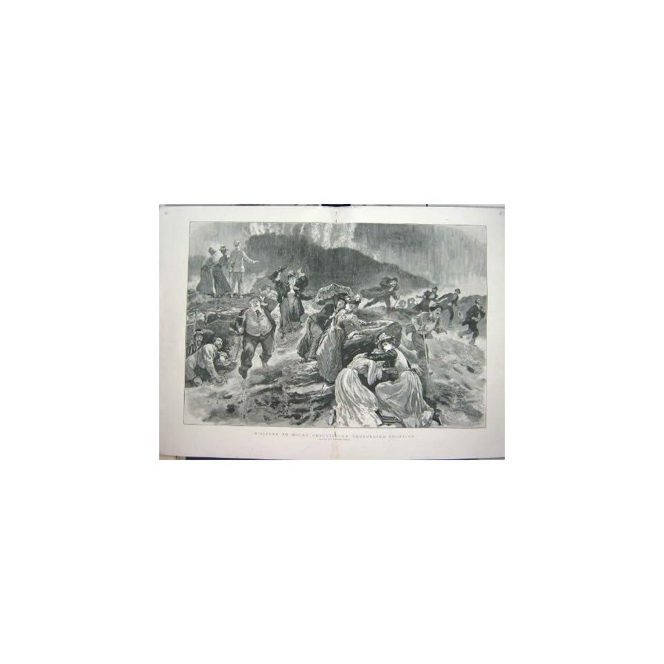 1891 VISITORS MOUNT VESUVIUS ERUPTION VOLCANO MOUNTAIN