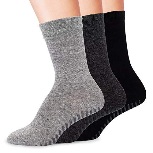 Gripjoy Grip Socks Non Slip Socks for Women | Non Skid Hospital Socks - 3 - Womens Fine Sock Rib
