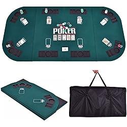 Giantex Folding Poker Table Top Portable Casino Poker Tables Four Fold 8 Player Poker Table Top w/Carrying Case (Green)