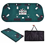 Giantex Folding Poker Table Top Portable Casino Poker Tables Four Fold 8 Player Poker Table Top w/Carrying Case (Green)