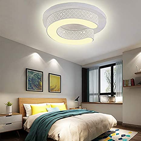36W LED Blanco cálido 3000K Lámpara moderna de techo Lámpara de techo Circular Ahorro de energía Salón Dormitorio Corredor Pantalla de acrílico ...