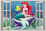The Little Mermaid 3D Window View Decal WALL STICKER Art Mural Disney Ariel C655, Giant