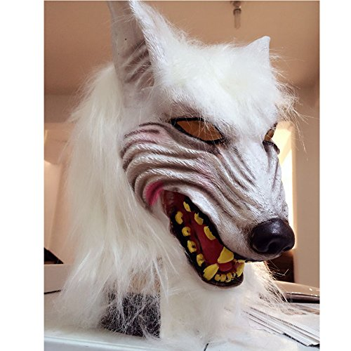 LUCKSTAR Wolf Mask - Latex Animal Wolf Head With Hair Mask Fancy Dress Wolf Head Mask for Halloween and Cosplay Costume Party Christmas (White) - Werewolf Head Costumes