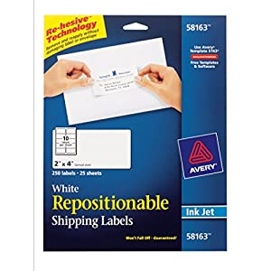 Avery Repositionable Shipping Labels for Inkjet Printers 2