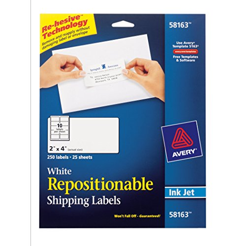 Avery White Repositionable Shipping Labels for Inkjet Printers, 2 x 4 Inches, Box of 250 (58163)